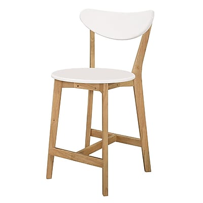 Walker Edison Retro Modern Barstools, Set of 2 - White/Natural (SPH24RMWNL)