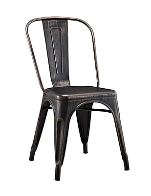 Walker Edison Stackable Metal Cafe Bistro Chair - Black (SPH33MCBL)