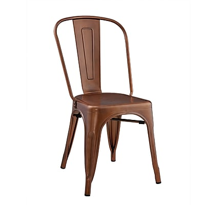Walker Edison Stackable Metal Cafe Bistro Chair - Brown (SPH33MCBR)
