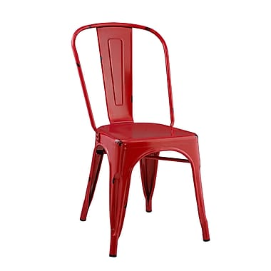 Walker Edison Stackable Metal Cafe Bistro Chair - Red (SPH33MCRD)