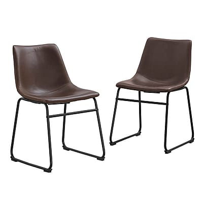 Walker Edison Faux Leather Dining Kitchen Chairs, Set of 2 - Brown (SPL18BR)