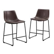 Walker Edison Faux Leather Dining Kitchen Counter Stools Set of 2 - Brown (SPHL26BR)