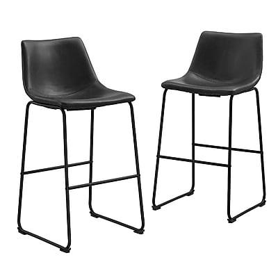 Walker Edison Faux Leather Dining Kitchen Barstools Set of 2 - Black (SPHL30BL)
