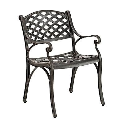 Walker Edison Antique Brown Cast Aluminum Patio Chairs, Set of 2 (SPMCH24AB)