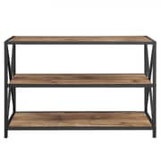 "Walker Edison 40"" X-Frame Metal and Wood Media Bookshelf - Barnwood (SPS40XMWBW)"