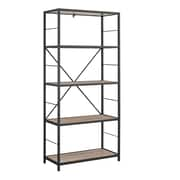 "Walker Edison 60"" Rustic Metal and Wood Media Bookshelf - Driftwood (SPS60RMWAG)"