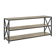 "Walker Edison 60"" Wide X-Frame Metal and Wood Media Bookshelf - Driftwood (SPS60XMWAG)"