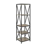 "Walker Edison 61"" Tall X-Frame Metal and Wood Media Bookshelf - Driftwood (SPST18XMWAG)"