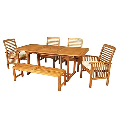 Walker Edison 6-Piece Brown Acacia Patio Dining Set with Cushions (SPW6SBR)