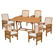 Walker Edison 7-Piece Brown Acacia Patio Dining Set with Cushions (SPW7SBR)