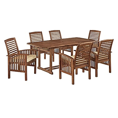 Walker Edison 7-Piece Dark Brown Acacia Patio Dining Set with Cushions (SPW7SDB)