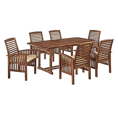 Walker Edison 7-Piece Dark Brown Acacia Patio Dining Set with Cushions (SPW7SDB)