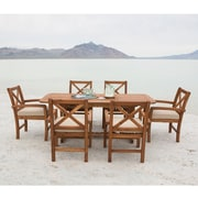 Walker Edison 7-Piece X-Back Acacia Patio Dining Set with Cushions (SPW7XBDBR)