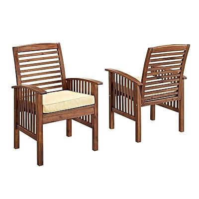 Walker Edison Dark Brown Acacia Patio Chairs with Cushions (Set of 2) (SPWC2DB)