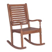 Walker Edison Solid Acacia Wood Rocking Patio Chair, Dark Brown (SPWRCDB)