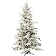 Fraser Hill Farm 9 Ft. Flocked Mountain Pine Christmas Tree with Clear LED String Lighting (FFMP090-5SN)