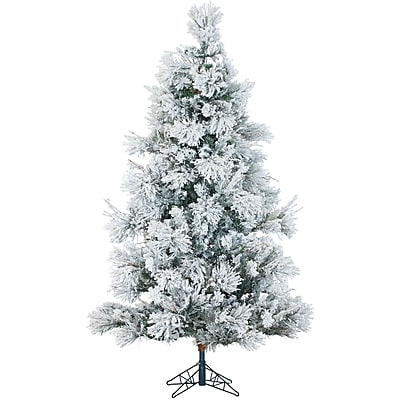 Fraser Hill Farm 6.5 Ft. Flocked Snowy Pine Christmas Tree with Multi-Color LED String Lighting (FFSN065-6SN)