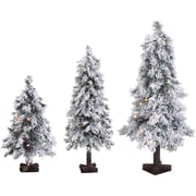 Fraser Hill Farm Set of 3 Snowy Alpine Trees with Clear Lights (2-Ft., 3-Ft., & 4-Ft.) (FFSA000-1SNSET3)