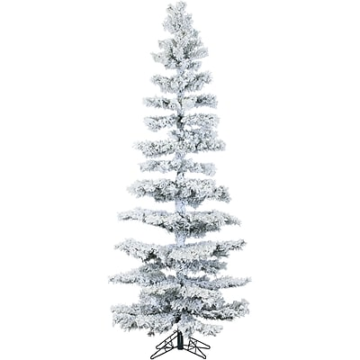 Fraser Hill Farm 7.5 Ft. Hillside Slim Flocked Pine with Clear LED String Lighting (FFHS075S-5SN)