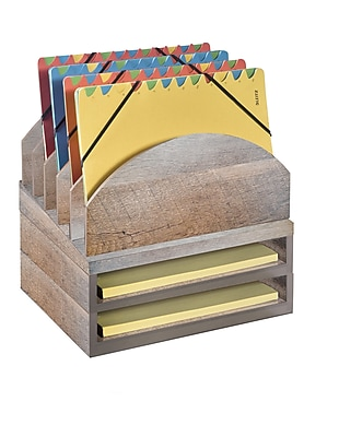 Bindertek Stacking Wood Desk Organizers Step Up File & 2 Tray Kit (WK2-DR)
