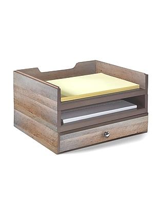 Bindertek Stacking Wood Desk Organizers, 2 Trays & 1 Drawer Kit (WK5-DR)
