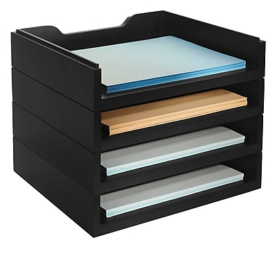 Bindertek Stacking Wood Desk Organizers, 4 Letter Tray Kit (WK6-BK)