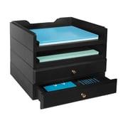 Bindertek Stacking Wood Desk Organizers, 2 Tray and 2 Drawer Kit (WK8-BK)