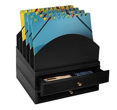 Bindertek Stacking Wood Desk Organizers Step Up File & 2 Drawer Kit (WK9-BK)