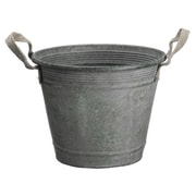 """Allstate 9.25"""" Country Rustic Antique-Style Metal Container Bucket with Jute Handles (31351744)"""