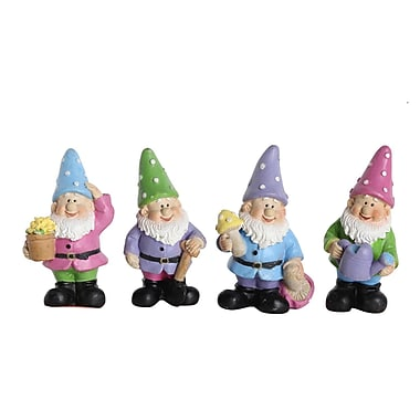 Northlight Set of 4 Purple Green Blue & Pink Miniature Whimsical Gardening Gnomes Outdoor Statuary Figures 2.5