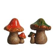 "Northlight Set of 2 Green and Orange Mottled Double Mushroom Outdoor Garden Patio Statue 11"" (32230540)"