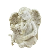 "Northlight 8.5"" Heavenly Gardens Distressed Ivory Sitting Angel with Book & Friend Outdoor Patio Garden Statue (32038883)"