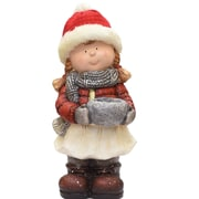 """Northlight 17"""" Standing Young Girl in Ski Hat with Candle Holder Winter Outdoor Patio Garden Statue (32260857)"""
