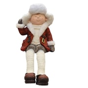 """Northlight 19"""" Distressed Sitting Young Boy in Faux Fur Trimmed Ski Hat Winter Outdoor Patio Garden Statue (32260860)"""