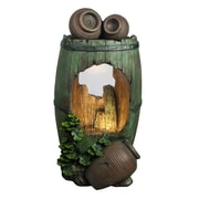 """Northlight 31"""" LED Lighted Rustic Green Barrel and Brown Urn Pots Spring Outdoor Garden Water Fountain (32037083)"""