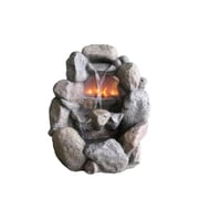 "Northlight 28"" Stone Gray Faux Rock Fireplace Waterfall Outdoor Patio Garden Water Fountain (32231718)"