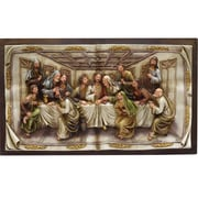 """Northlight 19.25"""" The Last Supper Inspirational Religious Christmas Wall Plaque with Brown Frame (32260934)"""