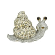 """Northlight 21"""" Weathered Gray  Red  Blue and Brown Stone-Inspired Snail Outdoor Patio Garden Statue (31565391)"""