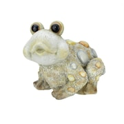 """Northlight 15.35"""" Weathered Sand Gray Stone-Inspired Frog Outdoor Patio Garden Statue (31565280)"""
