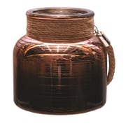 """Northlight 4.75"""" Copper Brown Circle Design Decorative Pillar Candle Holder Lantern with Handle (32256713)"""