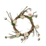 """Northlight 11"""" Brown  Cream and Pink Decorative Artificial Spring Floral Twig Wreath - Unlit (31812491)"""