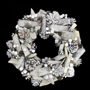 "Northlight 13"" White Driftwood and Pine Cone Artificial Christmas Wreath - Unlit (31742025)"