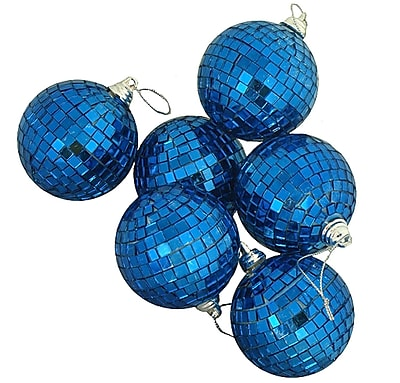 """Northlight 6ct Ocean Blue Mirrored Glass Disco Ball Christmas Ornaments 2.75"""" (70mm) (31756449)"""