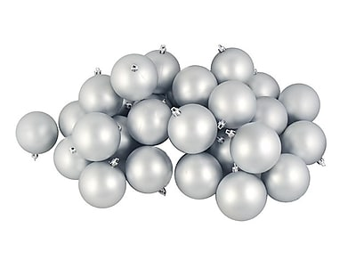 Northlight 60ct Matte Silver Splendor Shatterproof Christmas Ball Ornaments 2.5