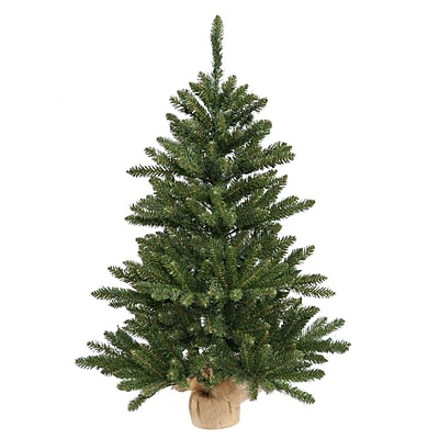 "Vickerman 2' x 14"" Anoka Pine Artificial Christmas Tree in Burlap Base - Unlit (32269898)"