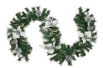 Northlight 6' Pre-Decorated Silver Poinsettia Pine Cone and Ball Artificial Christmas Garland - Unlit (31377210)
