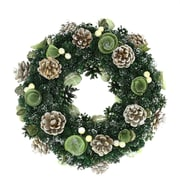 """Northlight 13.5"""" Green Mini Pine Cone and Wooden Rose Artificial Christmas Wreath - Unlit (31742047)"""