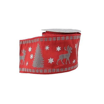 """A & B Floral Alpine Chic Red  Silver and Dark Gray Reindeer Christmas Craft Ribbon 4"""" x 10 Yards (31751543)"""