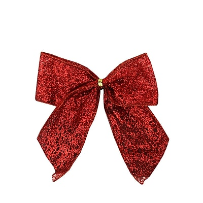 Dyno Pack of 6 Glittered Red Bow Christmas Decorations 4.5