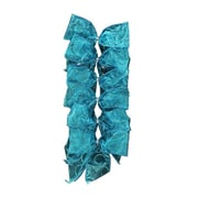 """Dyno Pack of 6 Glittered Teal Blue 2 Loop Bow Christmas Decorations 4.5"""" x 5"""" (31739174)"""
